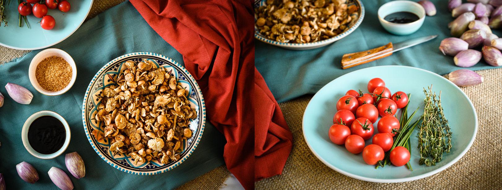 Карамелизиран шалот с гъба челядинка и чери домати
