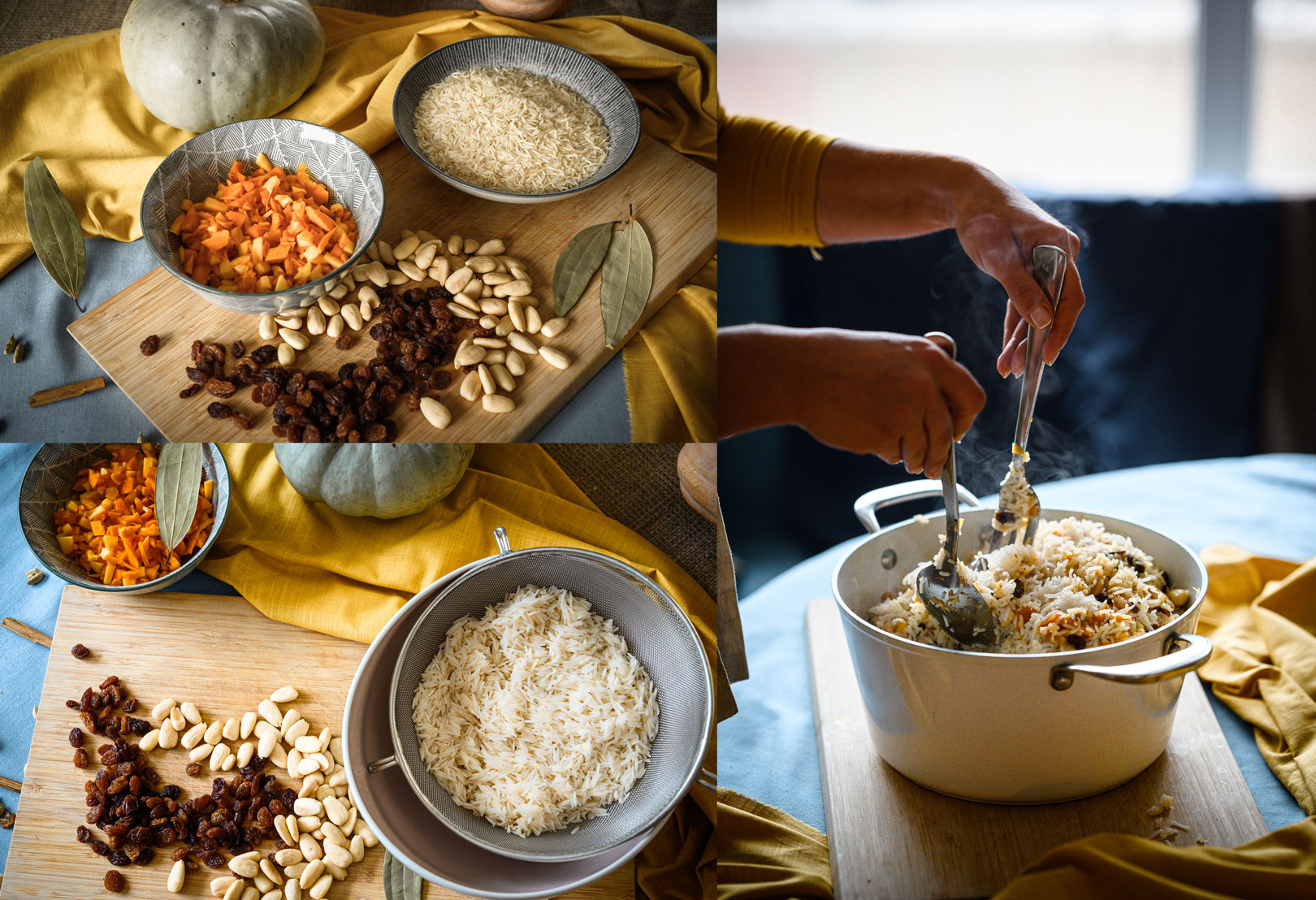 Пълнена тиква с ориз басмати, стафиди и бадеми