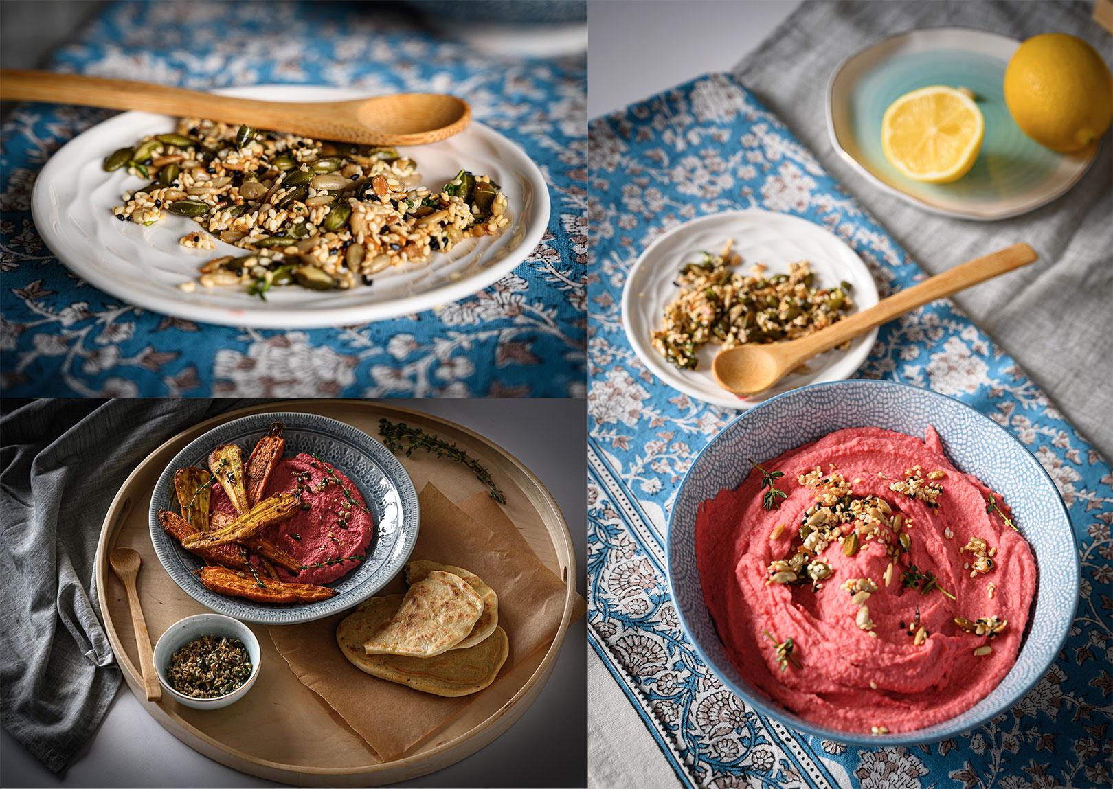 Хумус от бял боб и червено цвекло