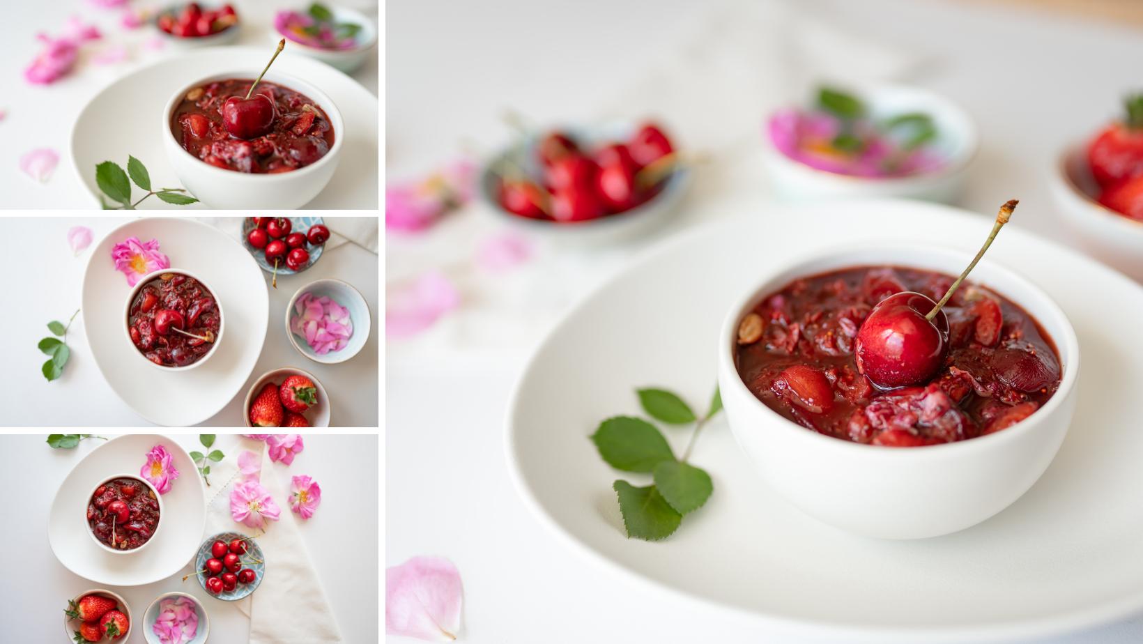 Черешово – ягодово чатни с рози